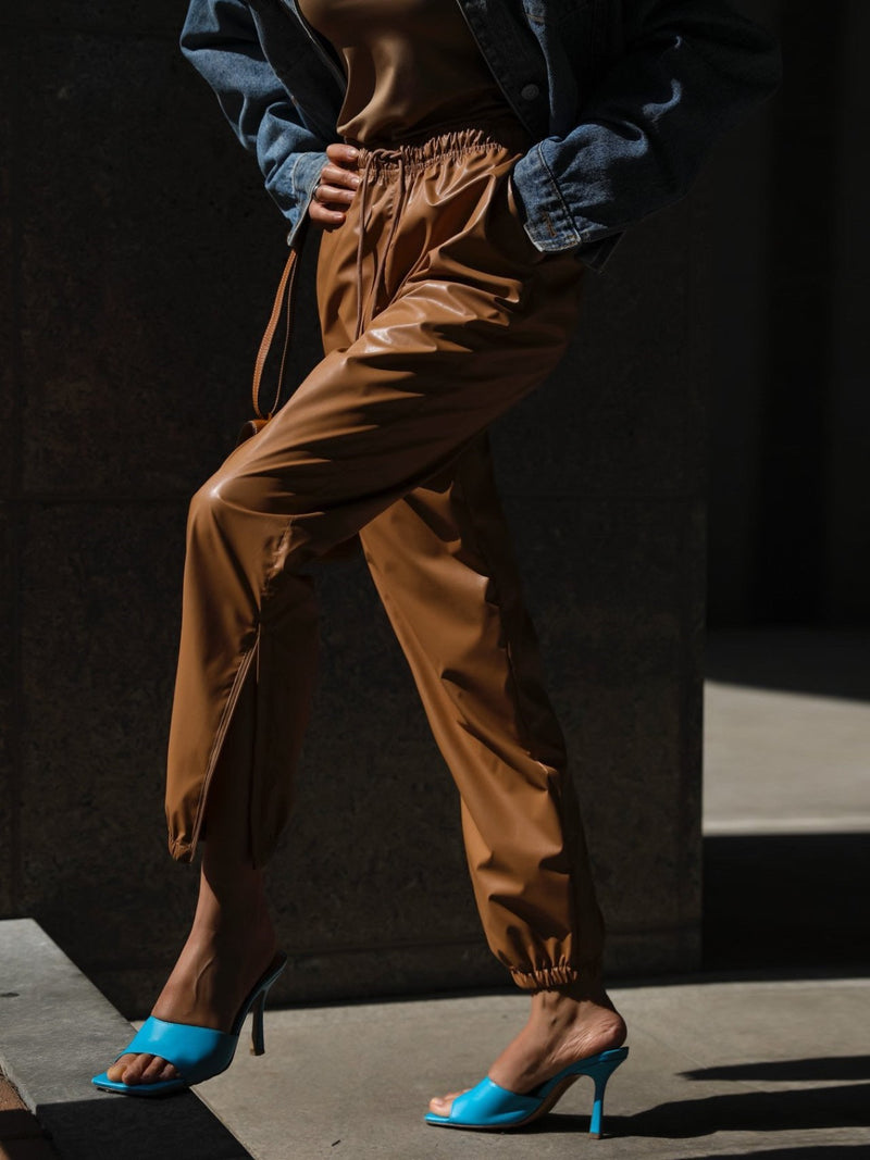 SOFT VEGAN LEATHER JOGGER PANTS