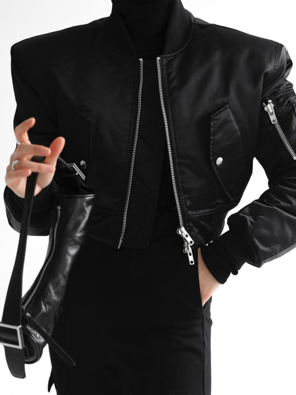SQUARE SHOULDER CROPPED BOMBER JACKET