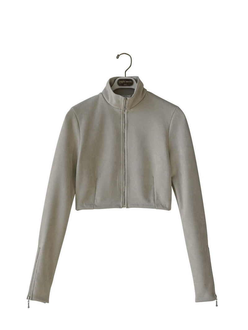 SUEDE CROPPED ZIP-UP JACKET