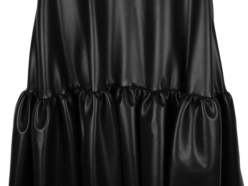 VEGAN LEATHER BALLOON DRESS