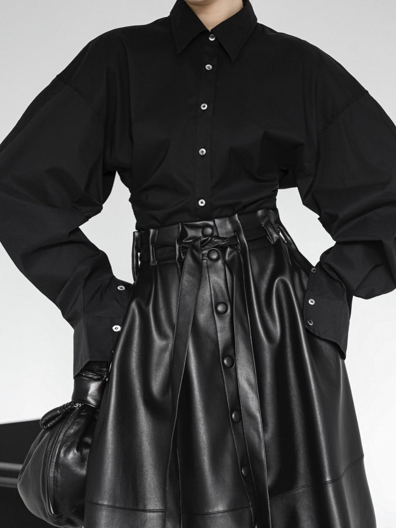 VEGAN LEATHER BELTED FLARE SKIRT