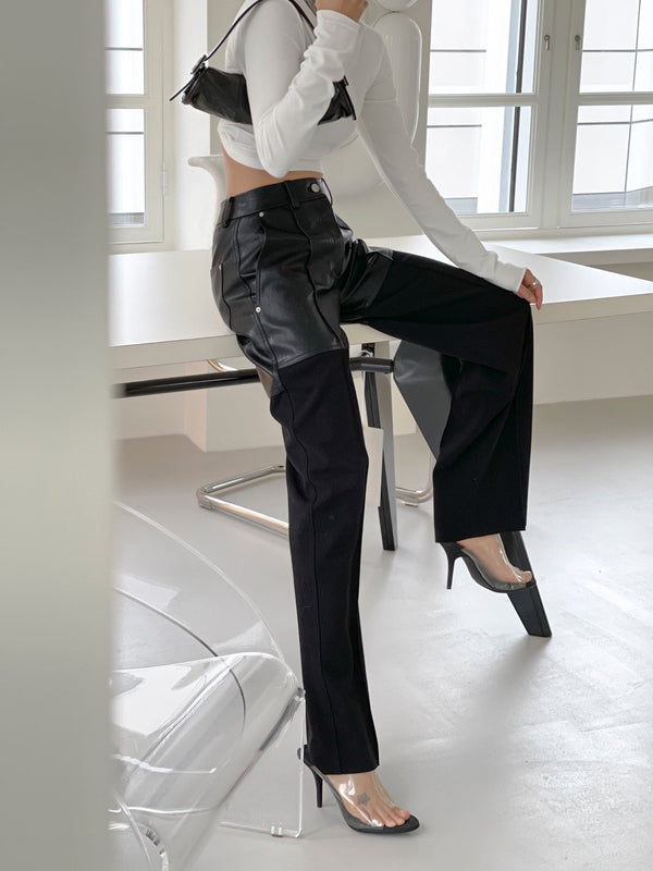 VEGAN LEATHER BI-FABRIC WIDE TROUSERS