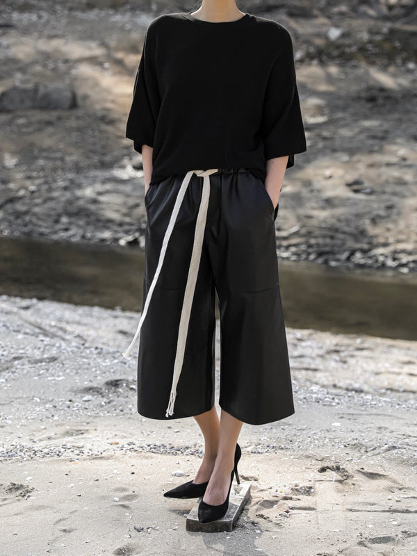 VEGAN LEATHER DRAWSTRING CULOTTE TROUSERS