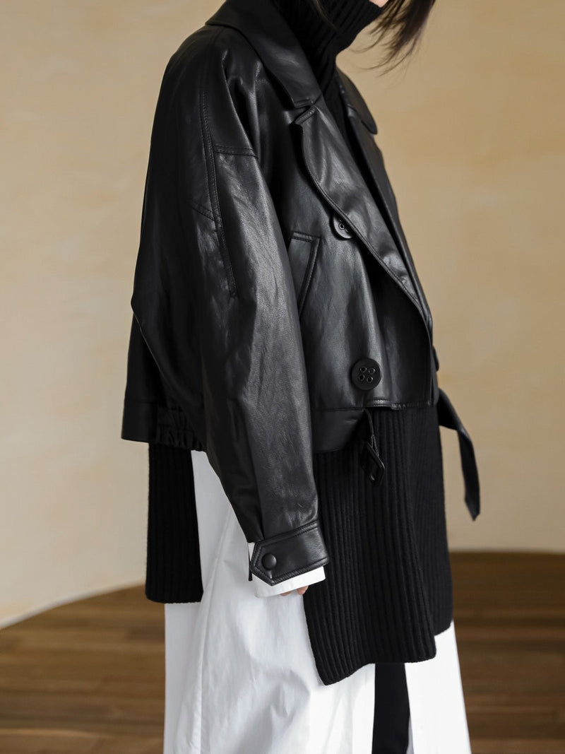 VEGAN LEATHER EYELET BUTTON TRENCH