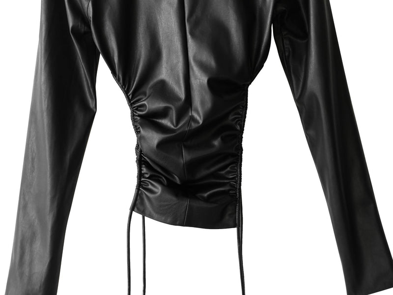 VEGAN LEATHER SIDE SHIRRED HIGH NECK TOP