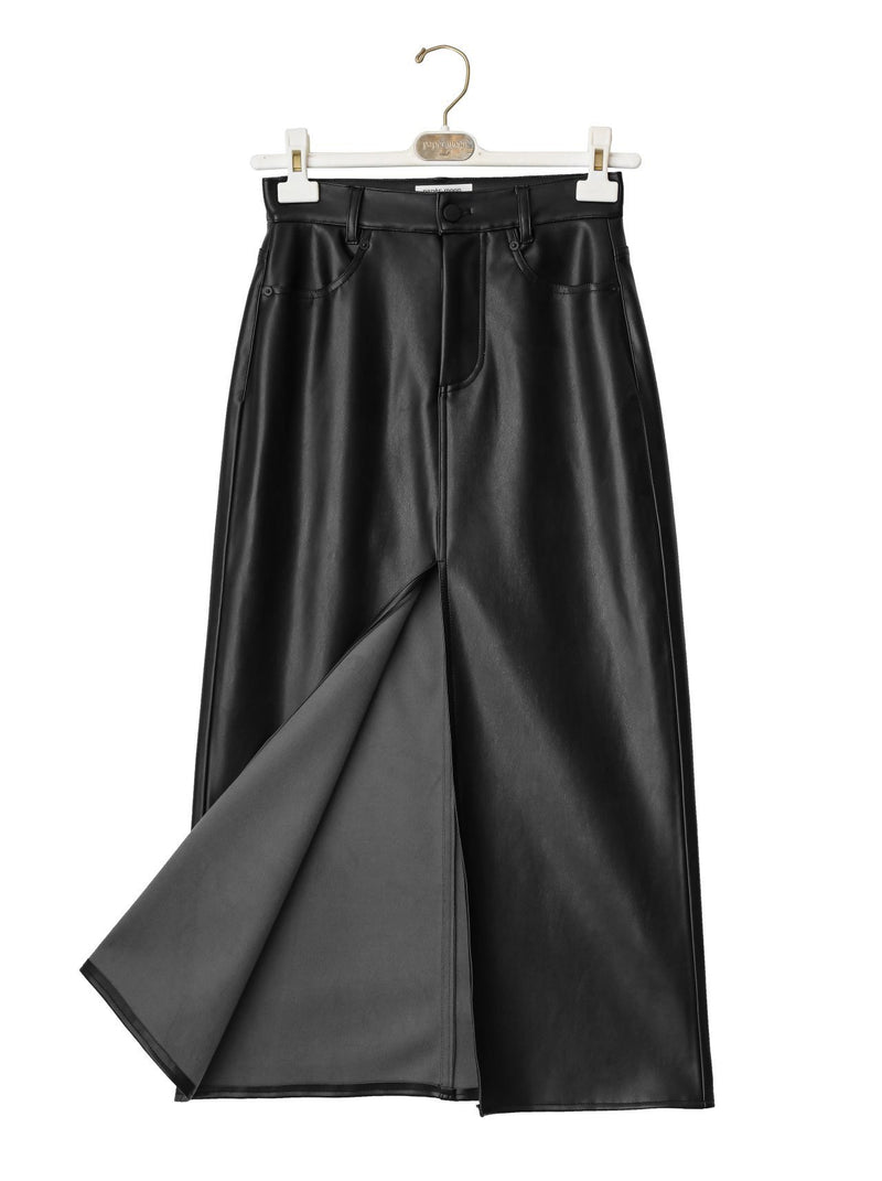 VEGAN LEATHER SKIRT WITH SLIT