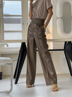 VEGAN LEATHER TROUSERS WITH SUEDE TRIM