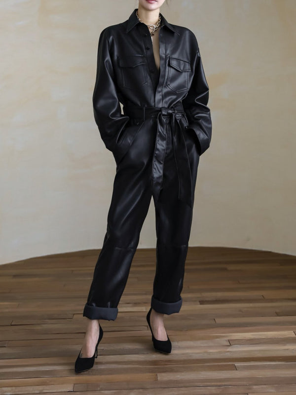 VEGAN LEATHER UTILITY JUMPSUIT