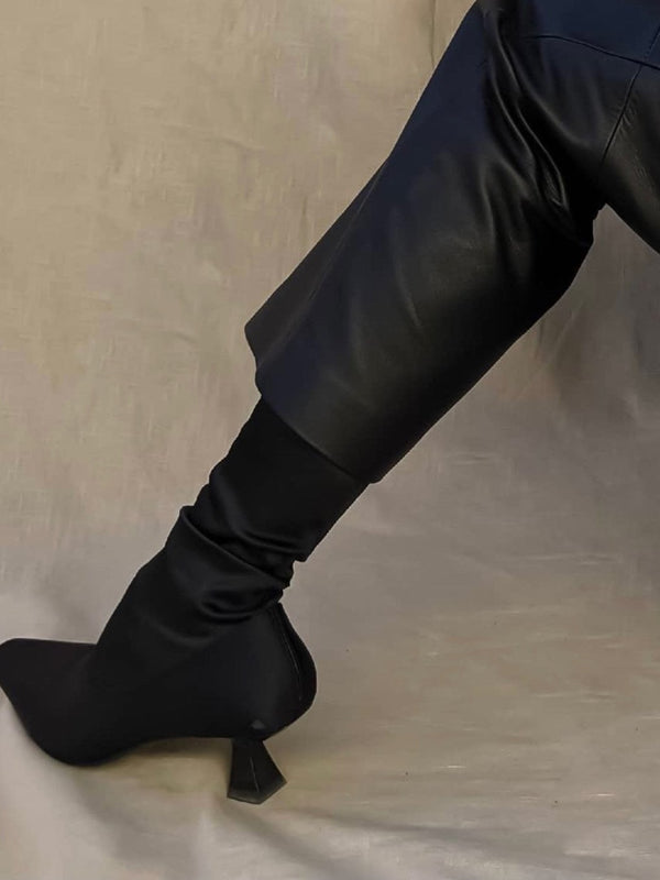 VOLUME SILHOUETTE VEGAN LEATHER TROUSERS
