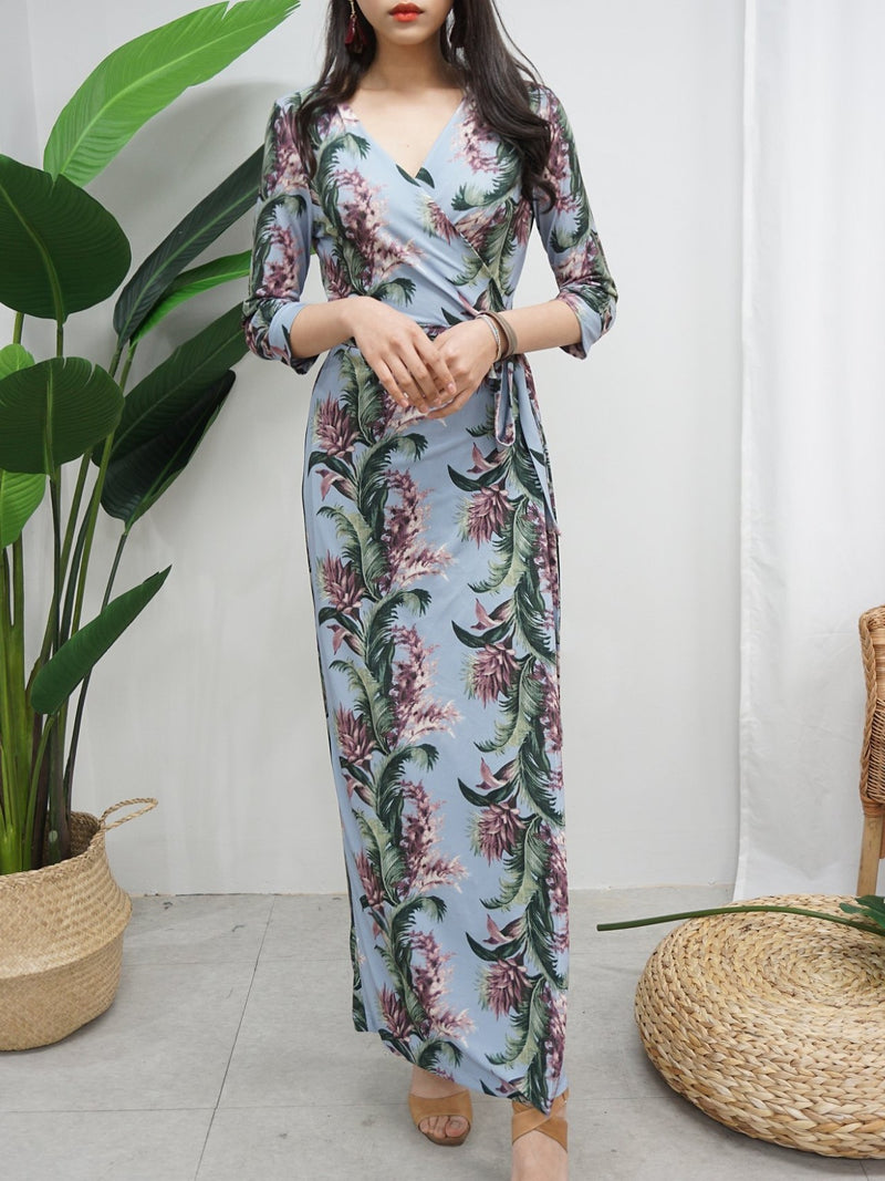 WRAP TROPICAL MAXI DRESS