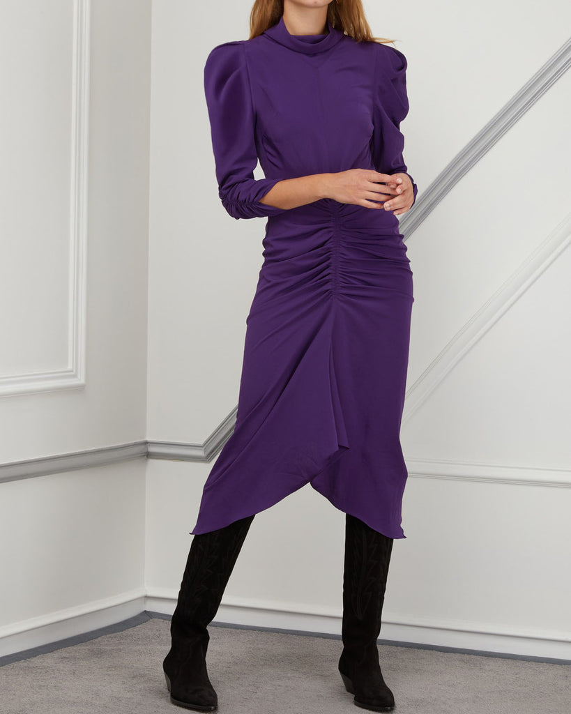 RUCHED MIDI DRESS - 2 COLORS