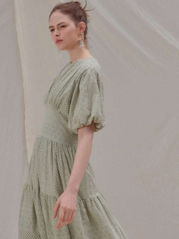 EMBROIDERED BALLOON SLEEVE PANEL DRESS