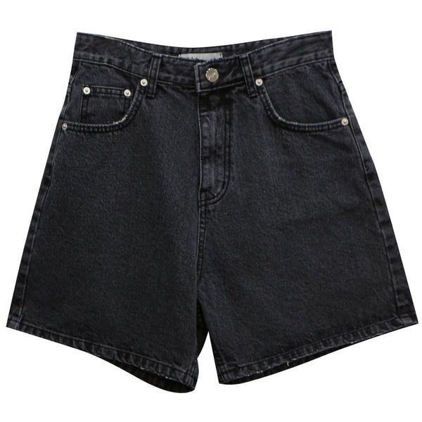 BLACK CINCH BACK DETAIL DENIM SHORTS