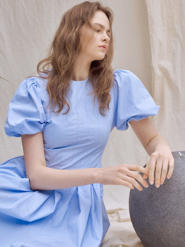 BALLOON SLEEVE COTTON DRESS