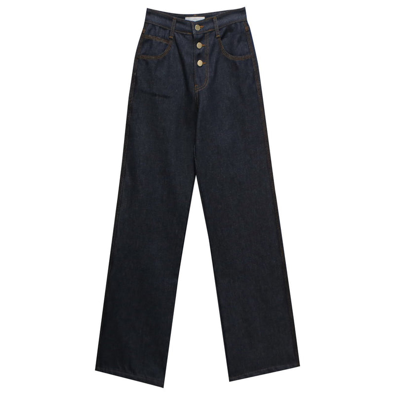 BUTTON STITCH DETAIL DENIM PANTS