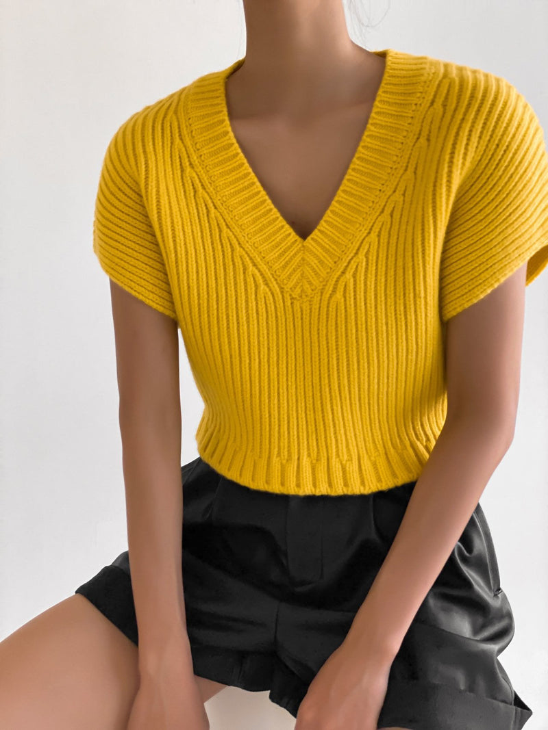 V-NECK CROPPED CHUNKY RIBBED KNIT