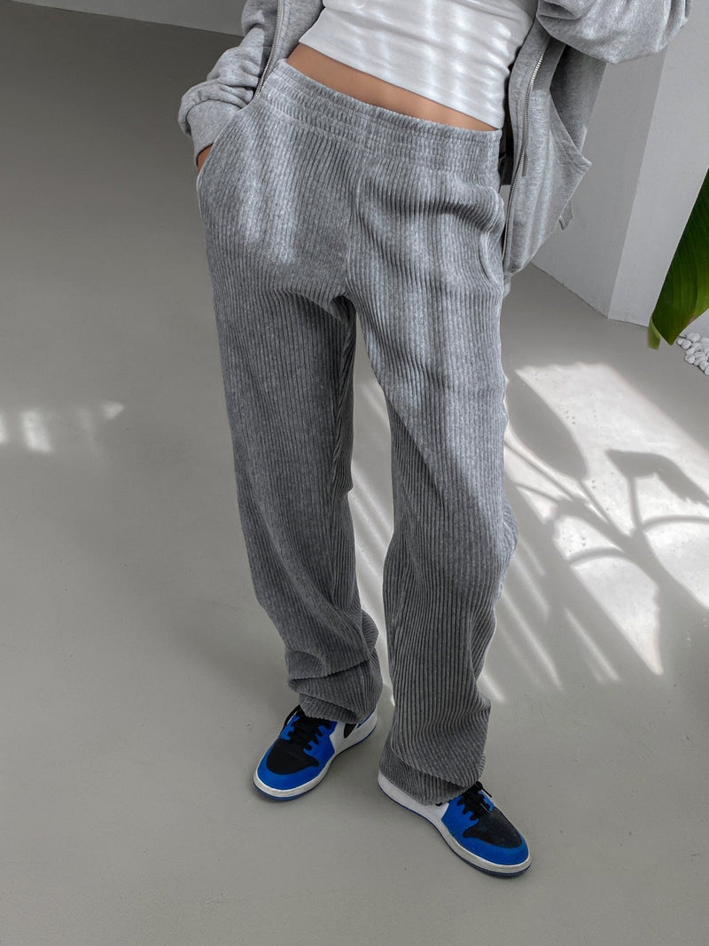 CORDUROY STRAIGHT BANDED WIDE TROUSERS