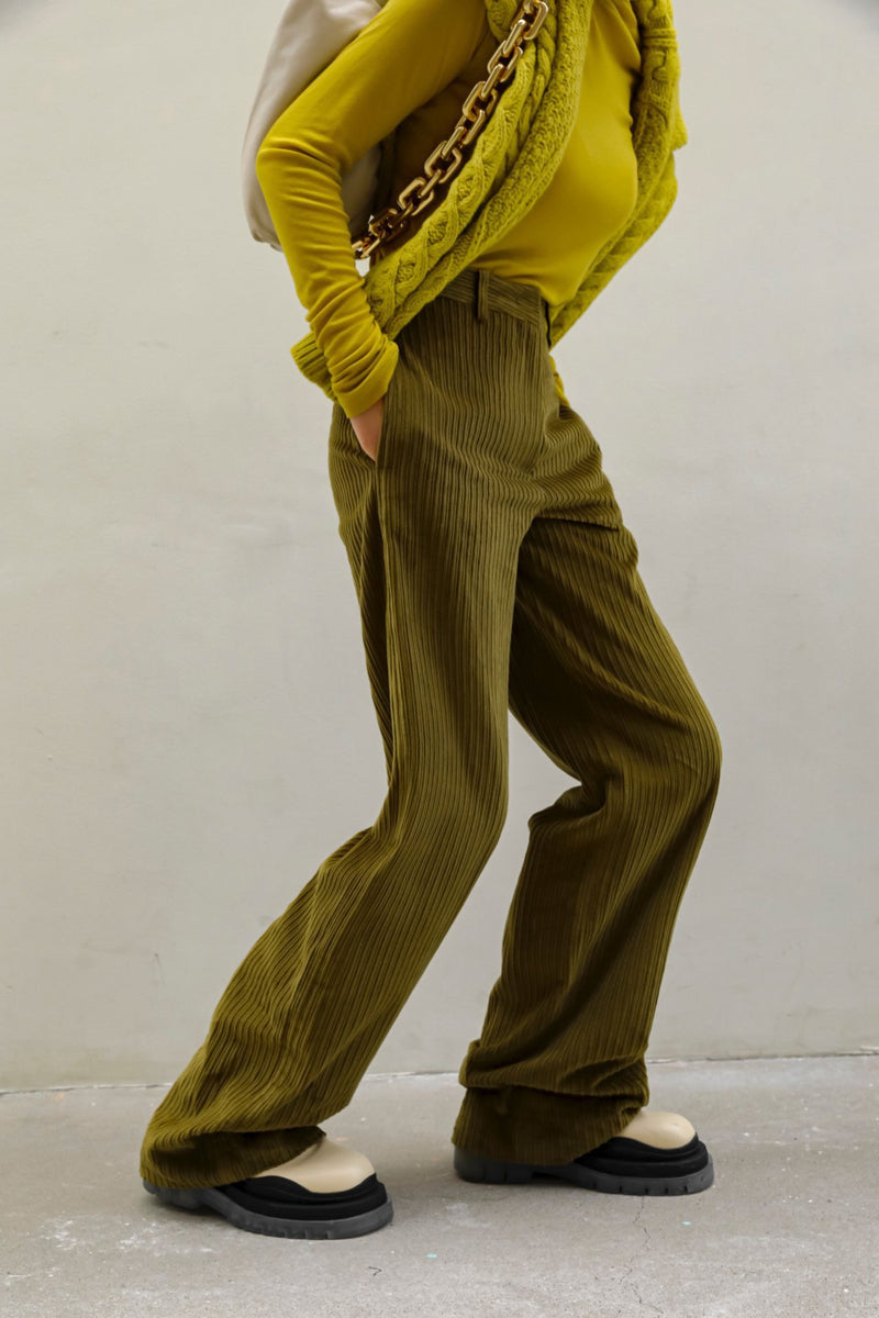 CORDUROY STRAIGHT WIDE LEG TROUSERS