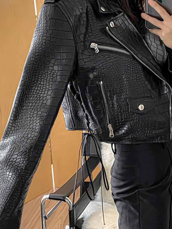 CROC LEATHER BIKER JACKET