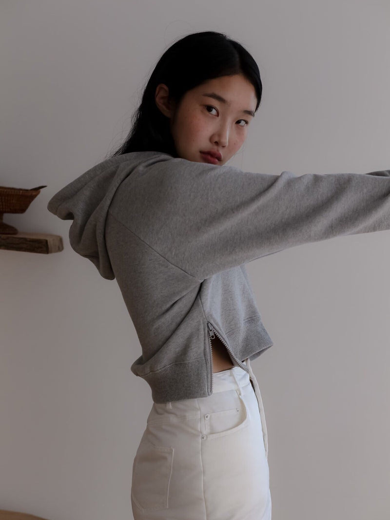 CROPPED HOODIE WITH SIDE ZIP