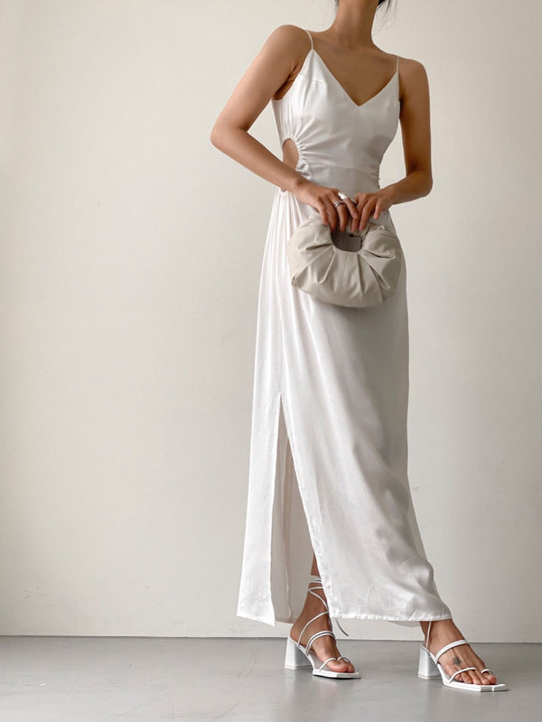 CUT OUT DETAIL SILK SLEEVELESS MAXI DRESS