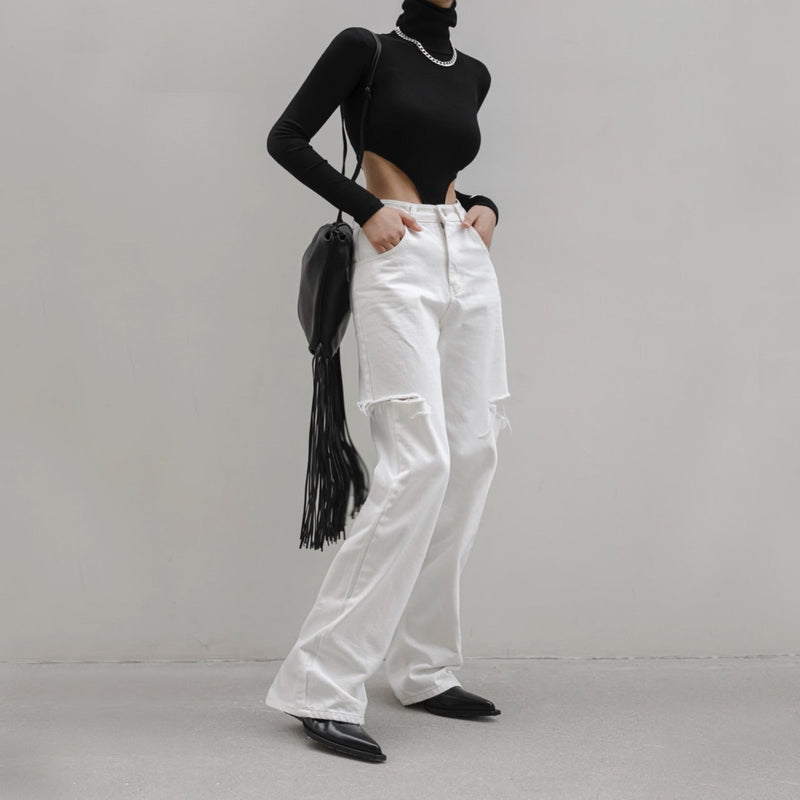 CUT OUT DETAIL WIDE LEG WHITE DENIM JEANS