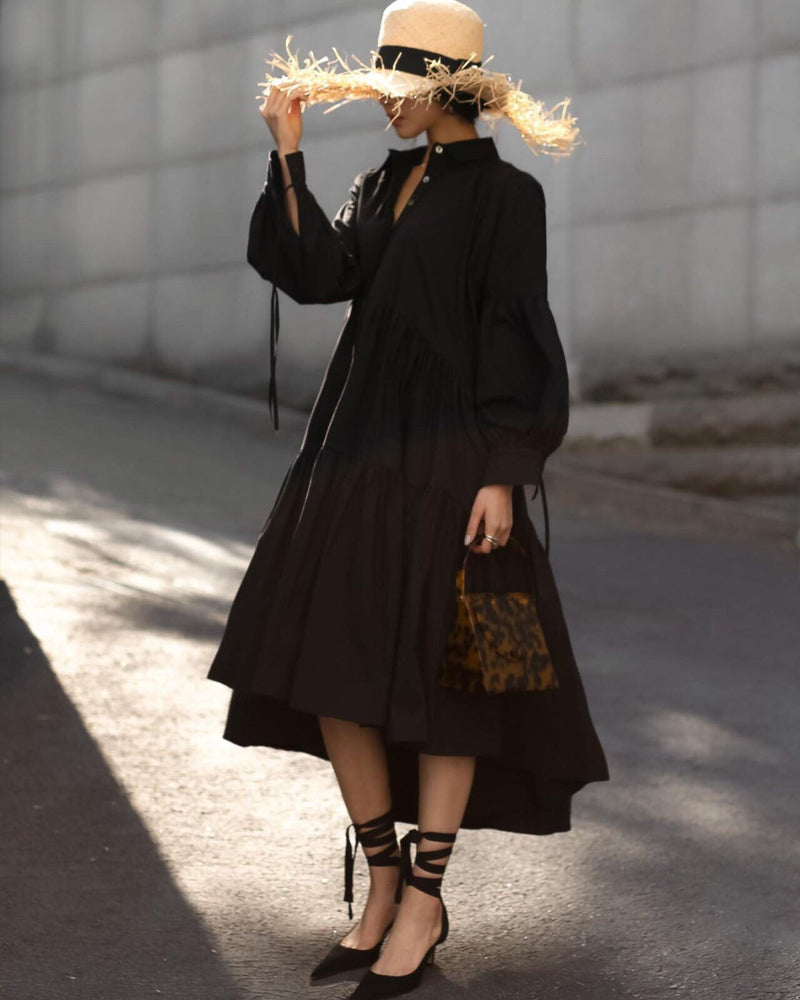 OVERSIZED RUFFLED MAXI DRESS