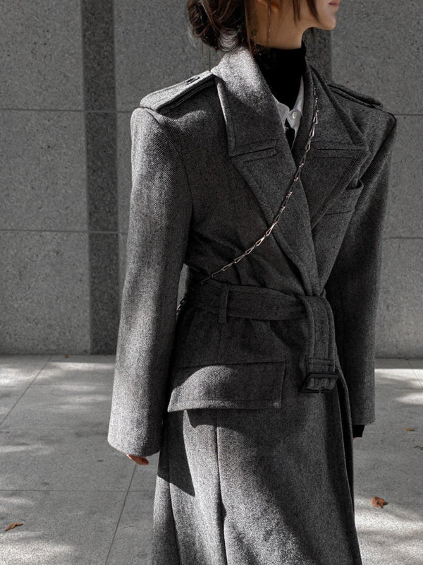 OVERSIZED HERRINGBONE BELTED COAT