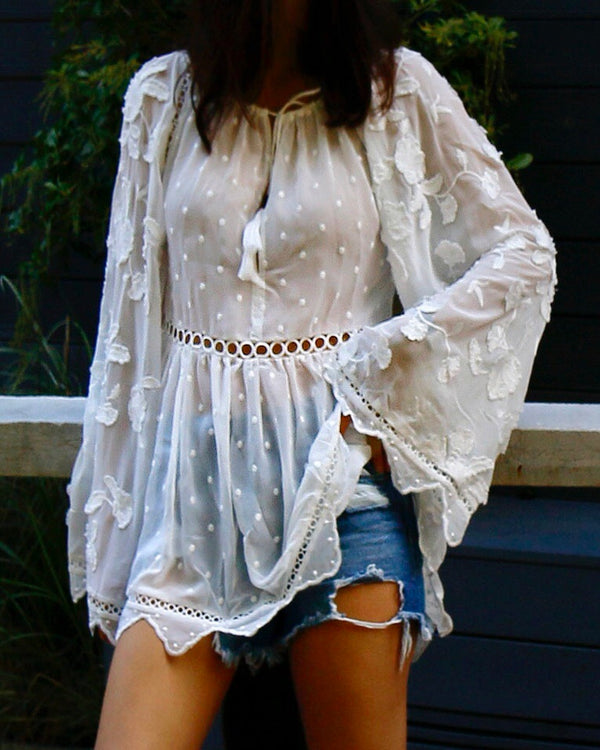 EMBROIDERED SHEER TUNIC - 2 COLORS