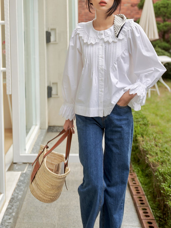RUFFLE SHAWL COLLAR COTTON BLOUSE