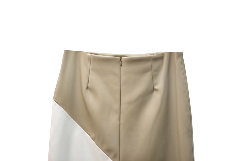 LEATHER COLOR BLOCK PENCIL SKIRT