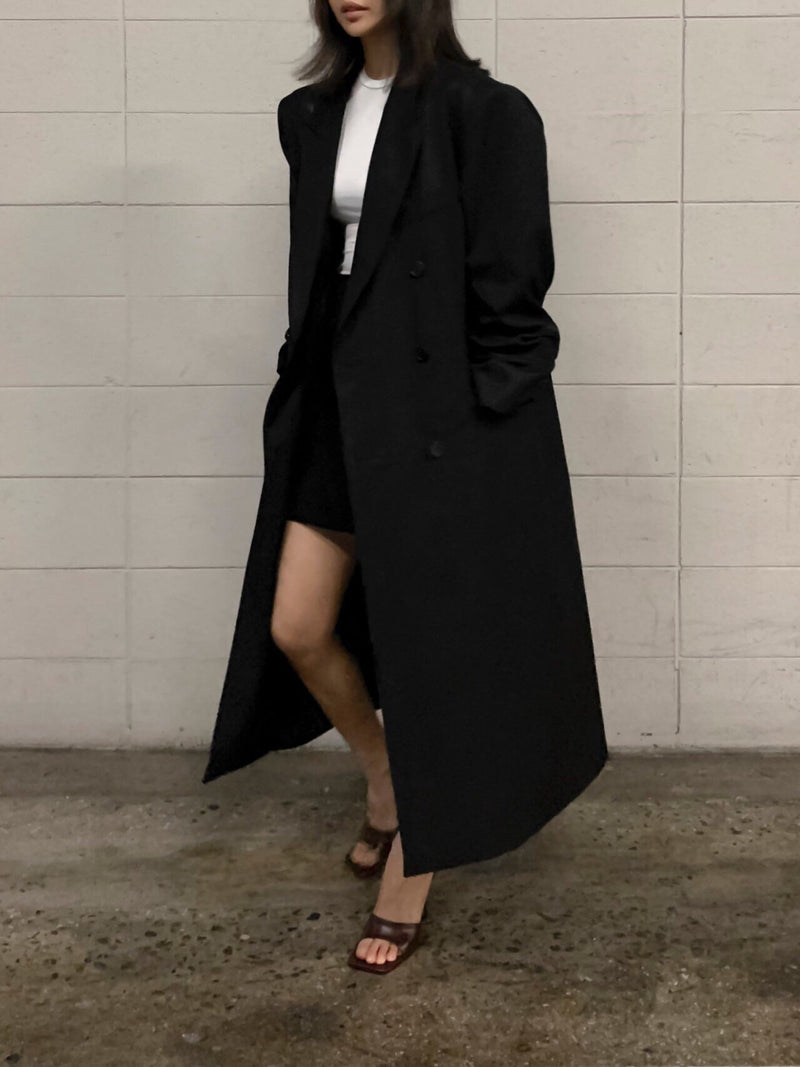 OVERSIZED GABERDINE DOUBLE BREASTED COAT