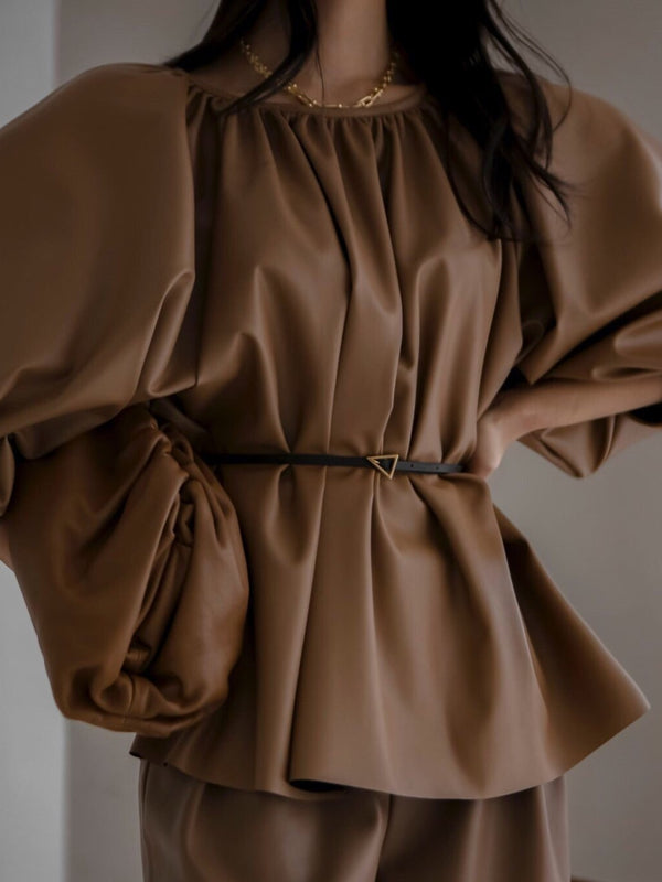 VEGAN LEATHER VOLUME BLOUSE