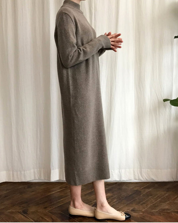 HALF NECK CASHMERE DRESS