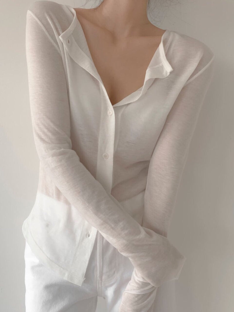 SHEER BUTTON DOWN CARDIGAN