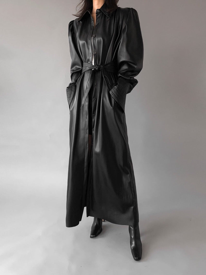 VEGAN LEATHER BELTED DRESS