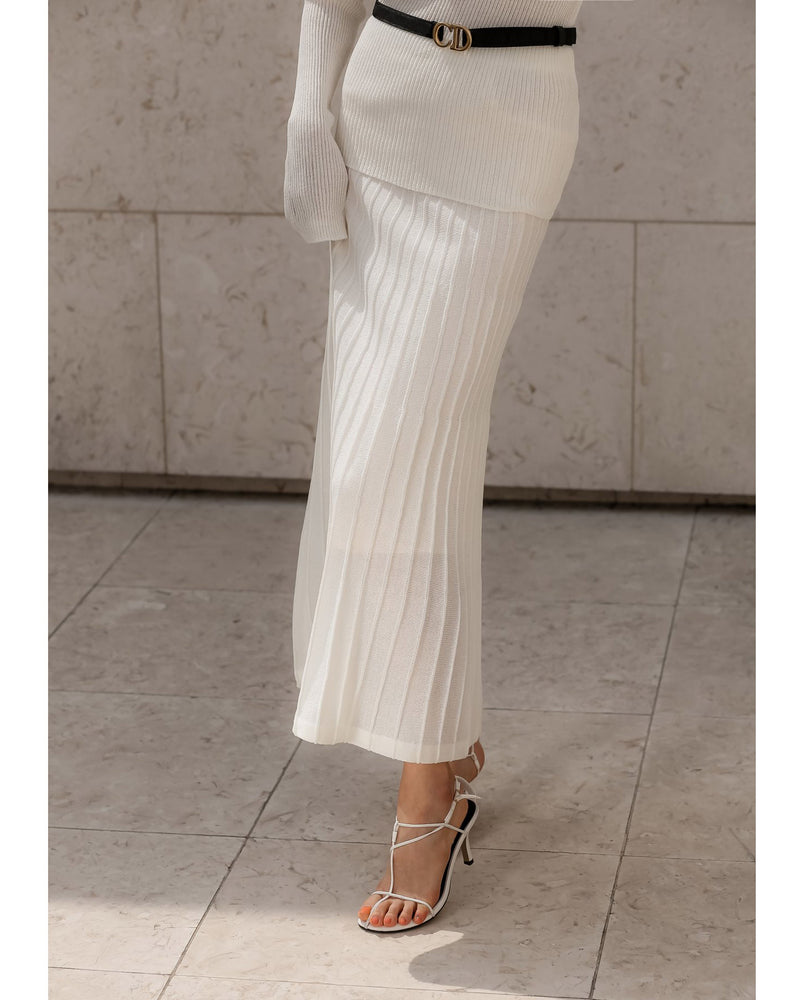 RIBBED MAXI FLARED KNIT SKIRT