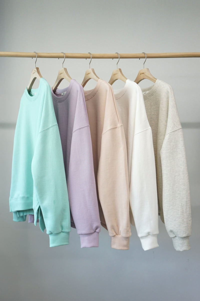 BASIC COTTON SWEATSHIRT WITH SIDE SLIT