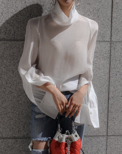 HIGH NECK SHEER BLOUSE - 4 COLORS