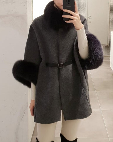 [SPECIAL PRICE] FOX FUR CASHMERE CAPE