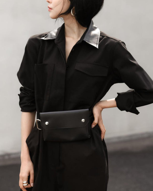 LEATHER COLLAR UTILITY JUMPSUIT