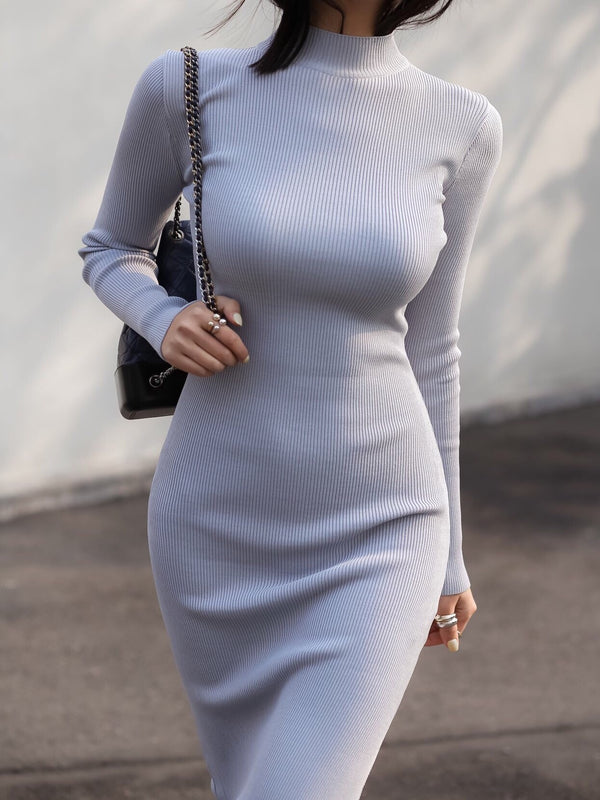 HIGH NECK SLIT KNIT DRESS