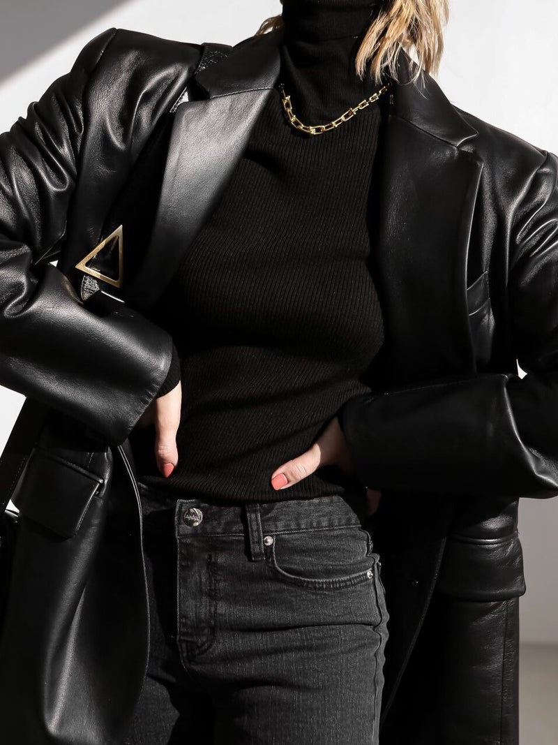 CLASSIC OVERSIZED LEATHER BLAZER
