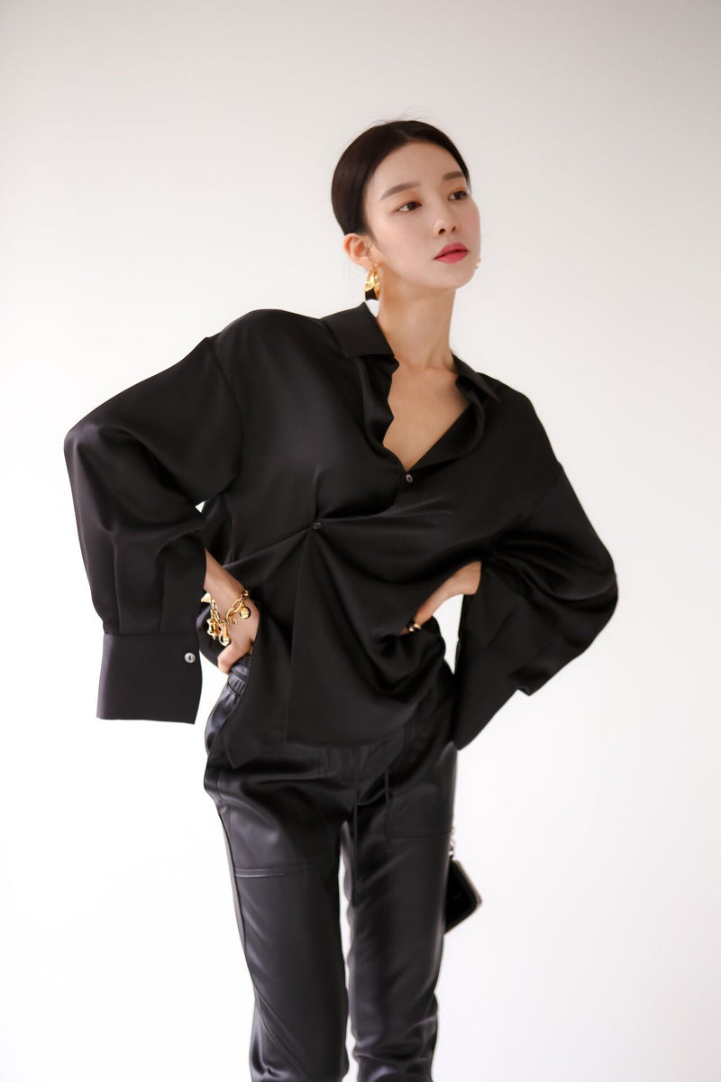 SILK UNBALANCED BLOUSE