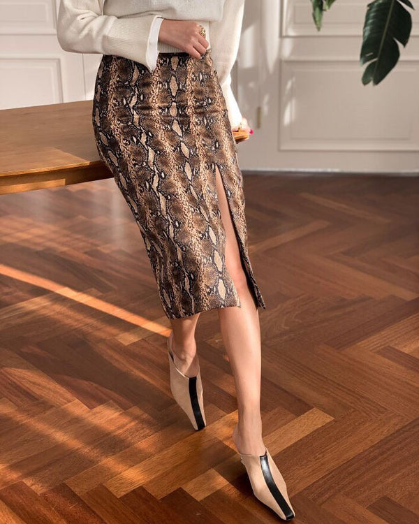 [SPECIAL PRICE] SNAKE PATTERN PENCIL SKIRT