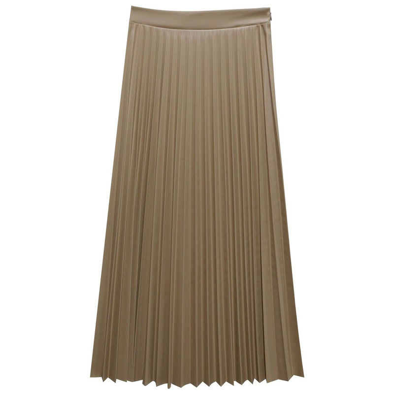 VEGAN LEATHER PLEATED FLARE SKIRT