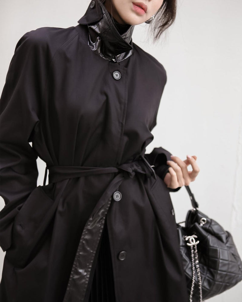 METALLIC TRIM TRENCH COAT