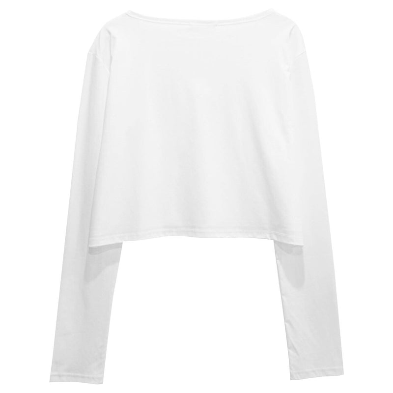 COTTON CROPPED LONG SLEEVE TOP
