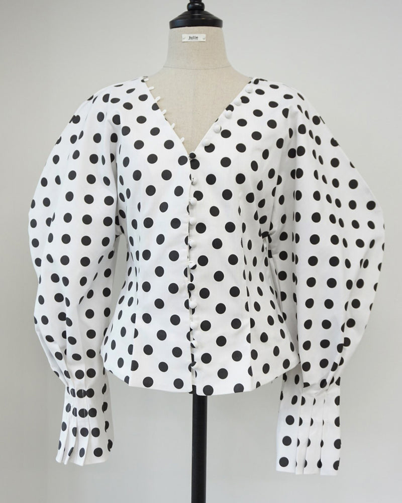 BUTTONED BALLOON SLEEVE BLOUSE