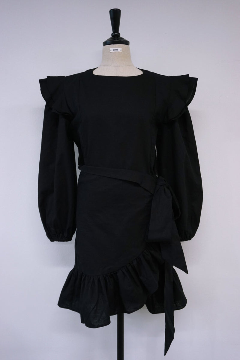 BALLOON SLEEVE RUFFLE DRESS